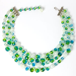 Blue & green beaded Hattie Carnegie necklace