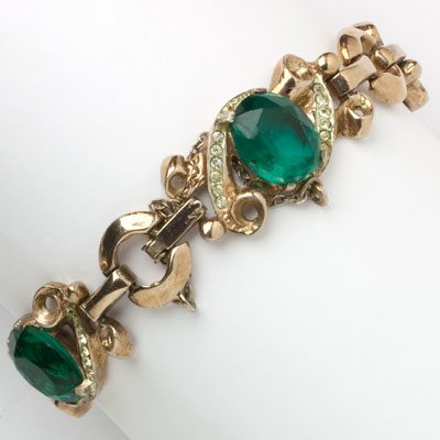 Corocraft bracelet in rose-gold with emeralds & diamanté
