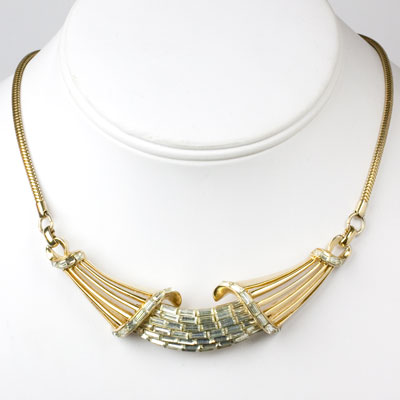 Coro necklace with gold & diamanté centerpiece