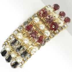 Hobé bracelet with dangling pearls & bi-color beads