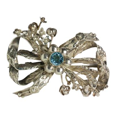 Hobé sterling silver brooch w/aquamarine