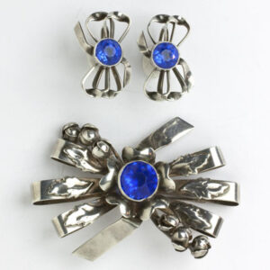 Sapphire costume jewelry set of sterling brooch & earrings