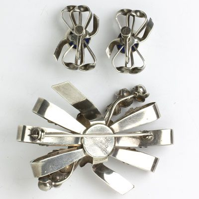 Back of brooch and earrings