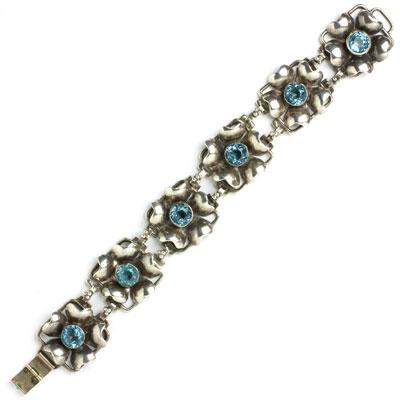 Hobe sterling silver & aquamarine floral bracelet