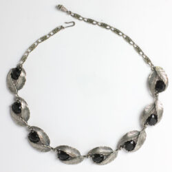 Onyx & silver leaves 1950s Schiaparelli necklace