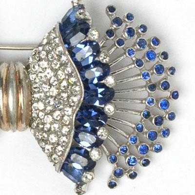 Close-up view of brooch end