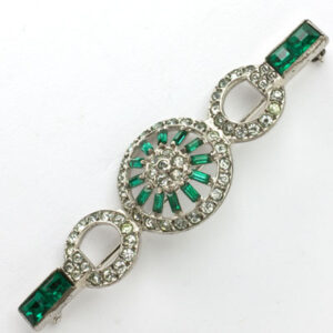Art Deco pin with emerald & diamante by Otis