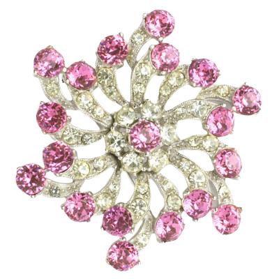 Bogoff brooch with pink tourmalines & diamantés