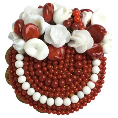 Beaded flower brooch in red & white