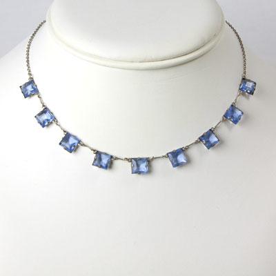 Sapphire chicklet-style necklace