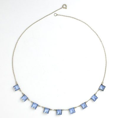 Sapphire chicklet-style Art Deco necklace