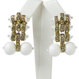 Milk glass earrings with rondelles