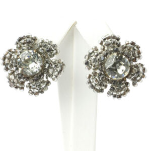 Diamante earrings shaped like flowers by Miriam Haskell