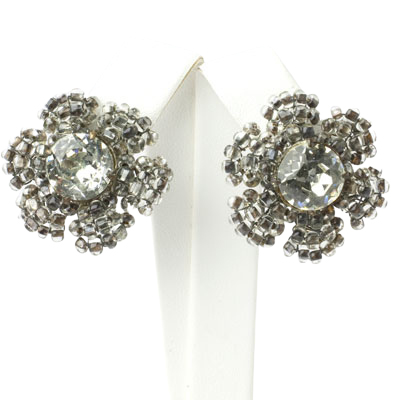 Diamante earrings shaped like flowers by Miriam Haskell