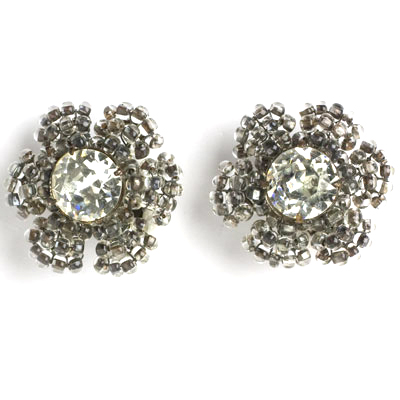 Miriam Haskell ear clips with diamante centers and beaded petals
