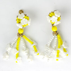 Yellow & white beaded flower earrings
