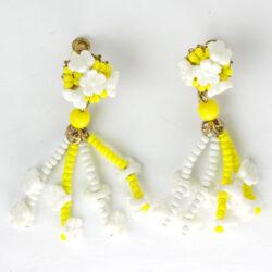 Yellow & white beaded flower earrings