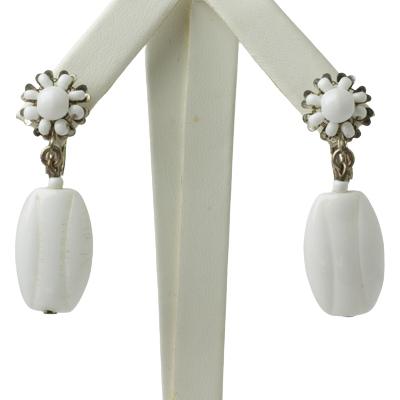 Vintage milk glass earrings by Miriam Haskell