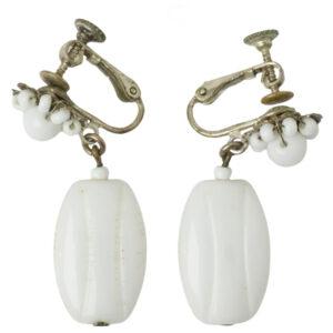 1960s milk glass pendants