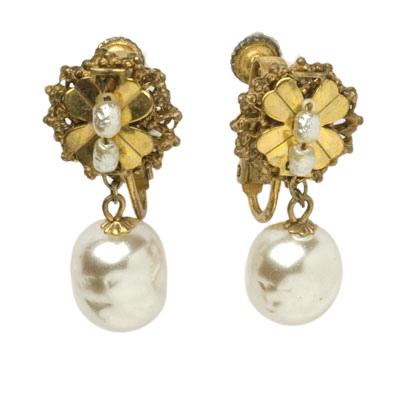 Pearl drop earrings by Miriam Haskell