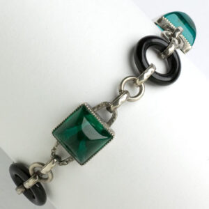 Vintage link bracelet with emeralds & onyx