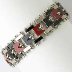 Vintage enamel bracelet in red & black on chrome
