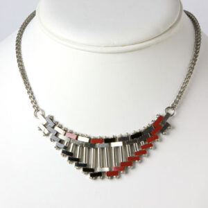 Red and black enamel necklace by Jakob Bengel
