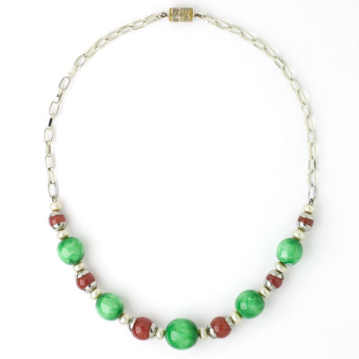 Carnelian, jade & pearl Art Deco necklace