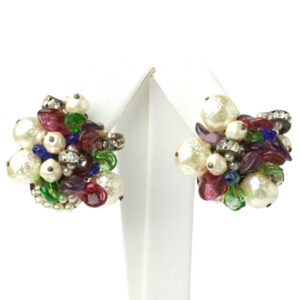Pearl and gemstone earrings by Louis Rousselet