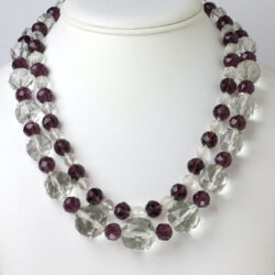 Long Art Deco necklace worn doubled