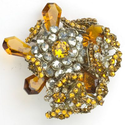 Golden topaz brooch with diamanté by Miriam Haskell
