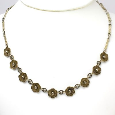 Theodor Fahrner necklace with gilt sterling flowers
