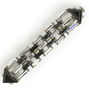 Art Deco bar brooch with onyx & crystal