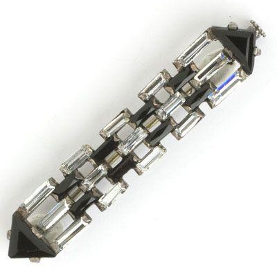 Art Deco bar brooch with onyx & crystal
