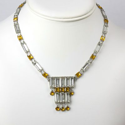 Tiered necklace with alternating citrine & crystal links