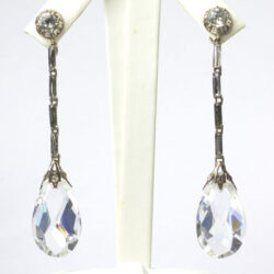 Crystal teardrop earrings with diamante set in sterling
