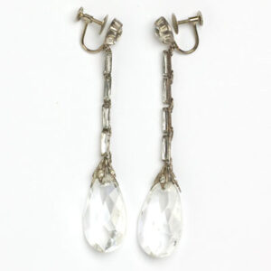 Long 1920s earrings with crystal pendants
