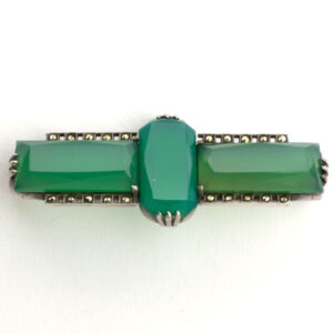 German Art Deco marcasite & chrysoprase brooch