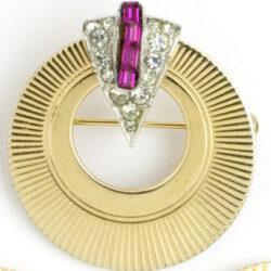 Marcel Boucher gold pin w/embellishments