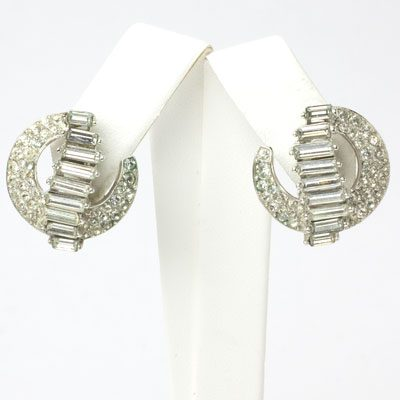 Trifari earrings with diamanté-embellished crescents
