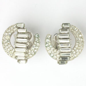 Trifari 1950s diamante crescent-shaped earrings