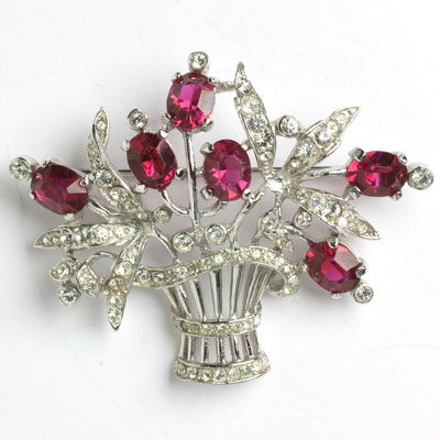 Trifari brooch with ruby flowers in a sterling basket