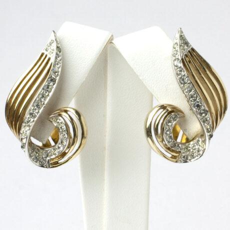Gold swirl earrings w/pavé by Marcel Boucher