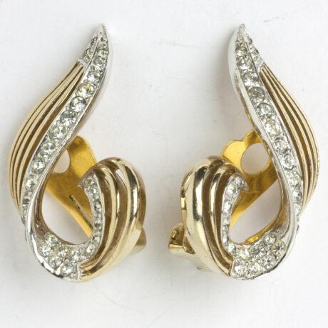 1950 gold & diamante ear clips