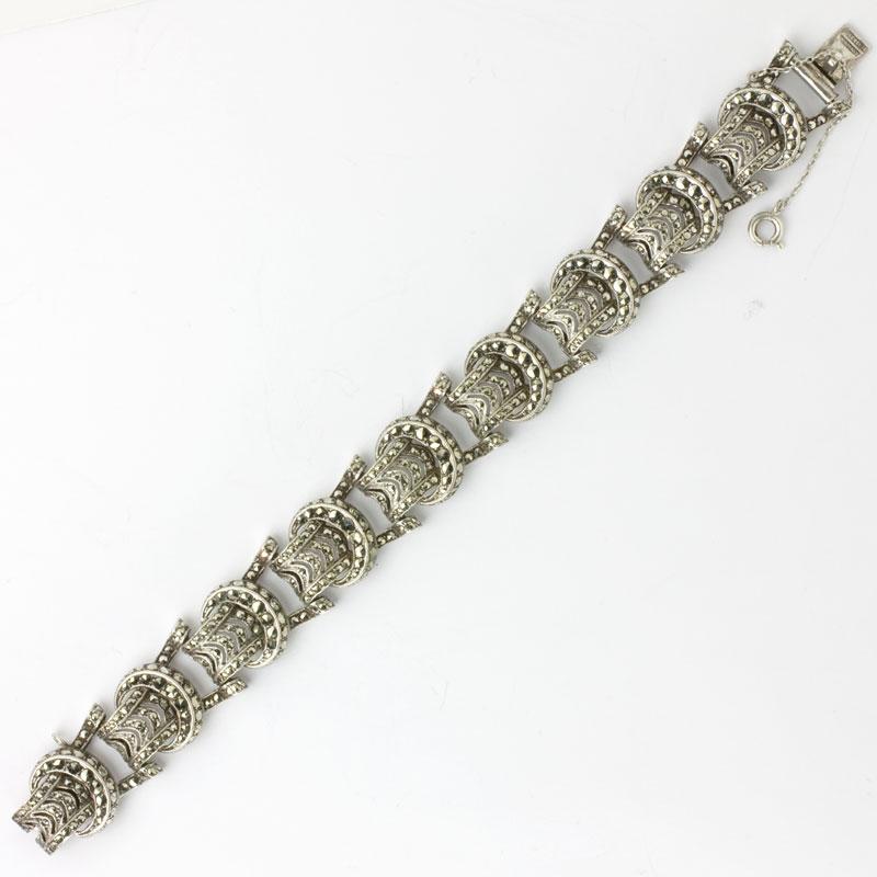1930s German sterling silver & marcasite buckle bracelet