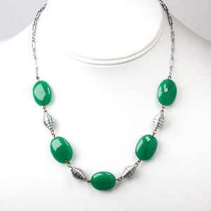 Chrysoprase necklace with chrome spacers
