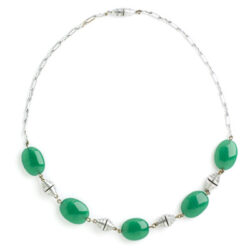 Chrysoprase & chrome Machine Age necklace
