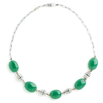 Chrysoprase & chrome Machine Age necklace