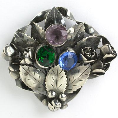 Hobé sterling pin w/amethyst, emerald & sapphire