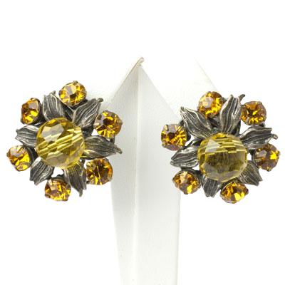 Beaded flower earrings w/citrines & silver-tone